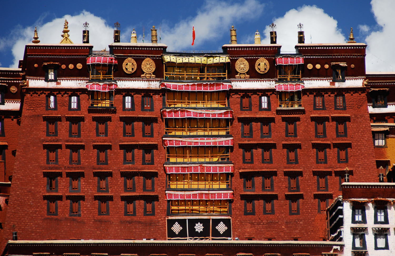 The central Red Palace of the Potala Palace owes its name to its crimson colour.