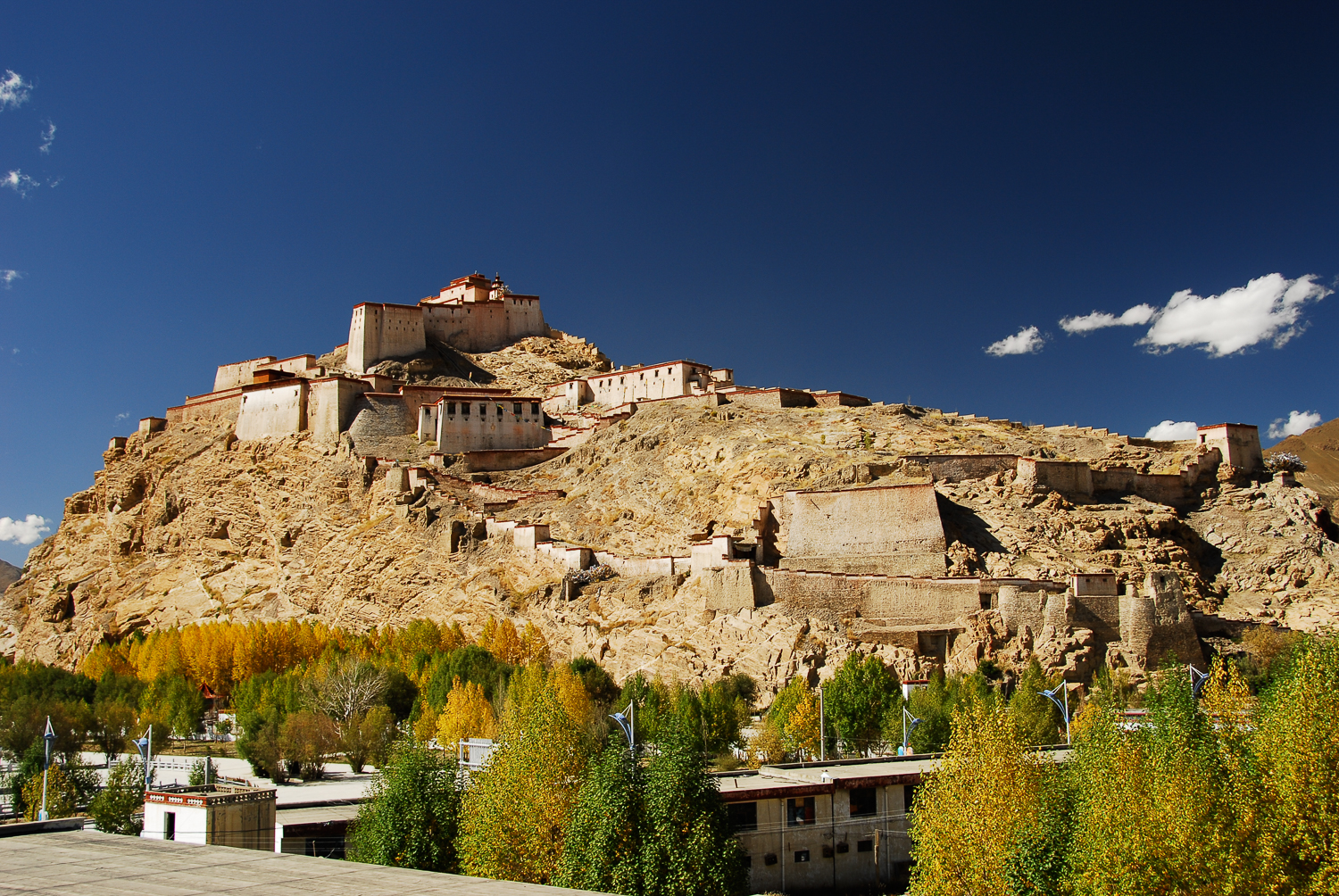 Gyantse Fortress is one of the best preserved edifices in Tibet. It sits perched high above its namesake, the town of Gyantse.