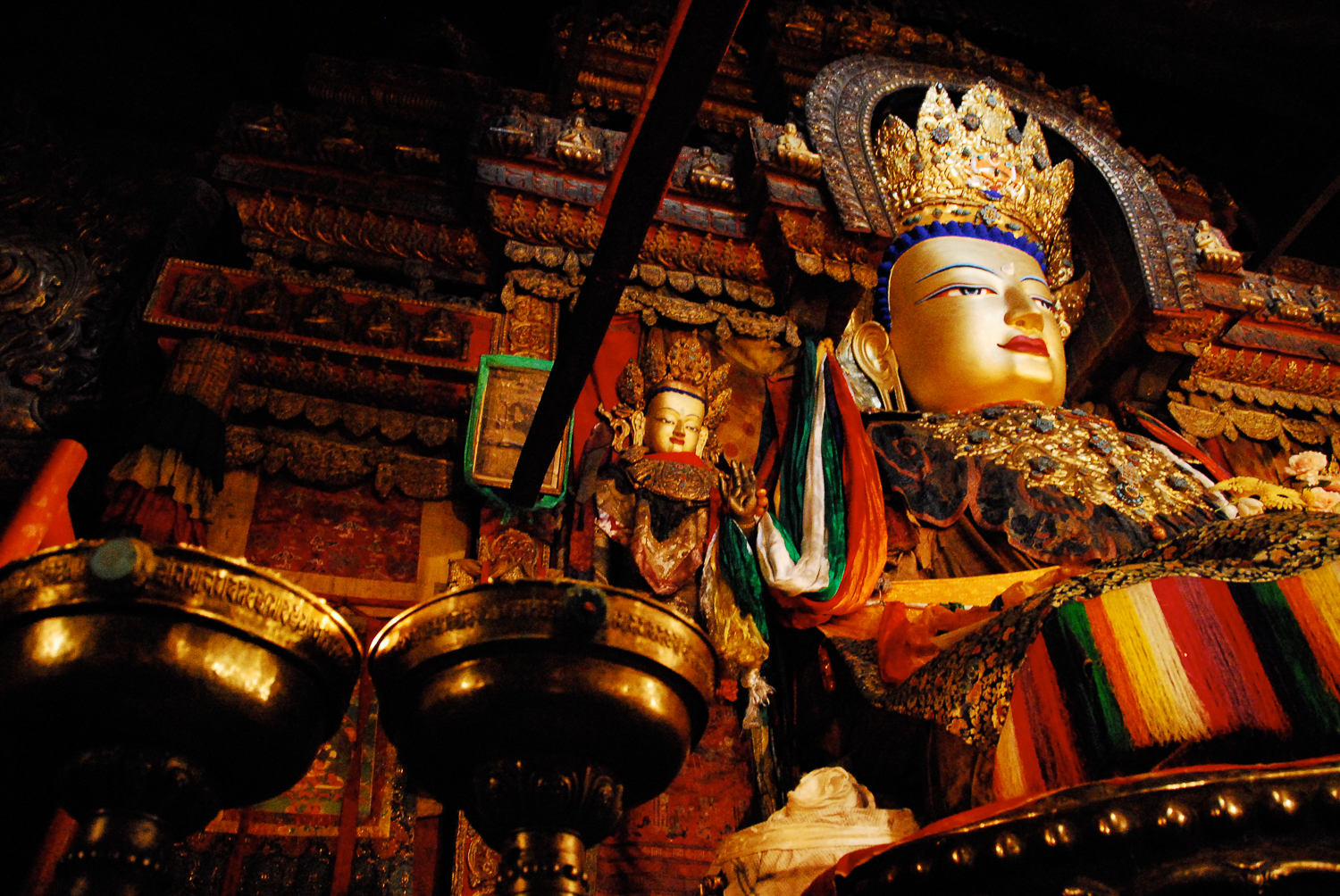 A Giant Buddha statue located inside the Tashilhunpo Monastery in Shigatse, the second-largest city in Tibet.