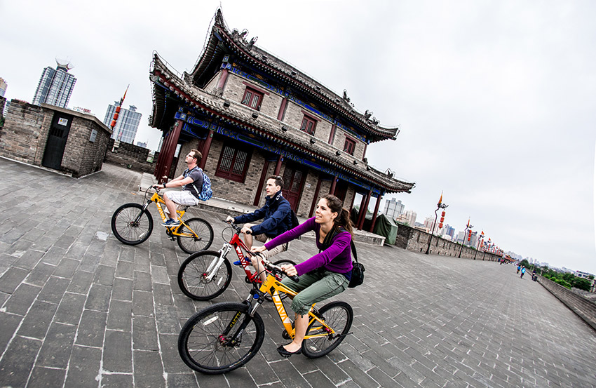 Riding bikes around the walled inner city of Xi'an provided a cultural and scenic journey around this historical city, which is known as the terminus of the Silk Road.